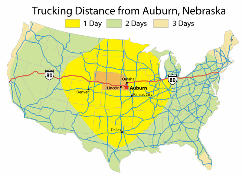 Trucking Distance from Auburn, Nebraska